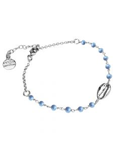 Bracelet with light blue and shell crystals