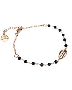 Rosé bracelet with black crystals and shell