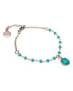 Rosé bracelet with green crystals and green crystal water