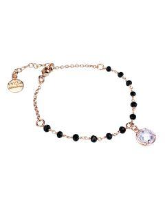Rosé bracelet with black crystals and crystal crystal