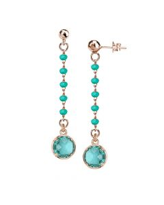 Rosé earrings with crystals and green water pendant