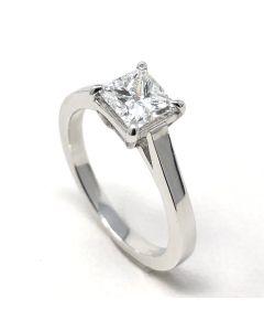 anello solitario Diamante Princess ct 1,01 F VS2