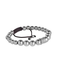 Bracelet with rhodium-plated boules and cylindrical central in zircons