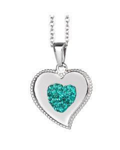 Collana con cuore pendente e strass blu zircon