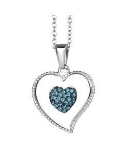 Necklace with heart pendant and rhinestones blue Montana