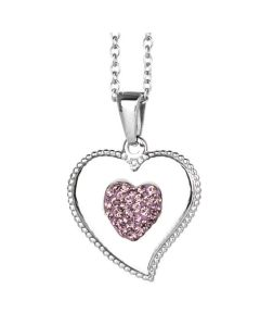 Necklace with heart pendant and rhinestones lilac