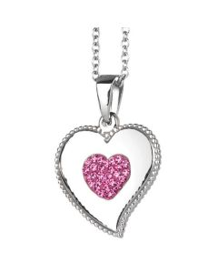 Necklace with heart pendant and rhinestones pink