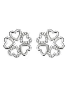 Earrings in the lobe with quadrifoglio composed of hearts