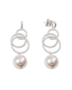Earrings with concentric circles of zircons and pearl final Swarovski