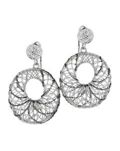 Orecchini circolari in argento con traforo