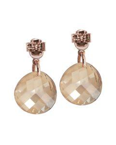 Earrings with Swarovski golden shadow and zircons