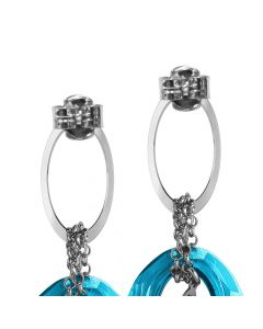 Earrings with oval of zircons and Swarovski indicolite