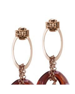 Earrings with oval of zircons and Swarovski red magma