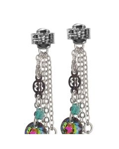 Earrings with sprigs of green Swarovski and half-moons of zircons