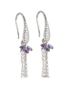 Earrings with white zircons and amethyst