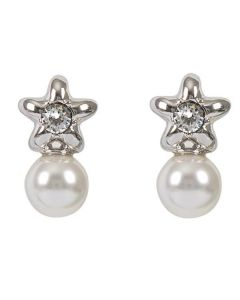 Earrings in the lobe with star and pearl Swarovski