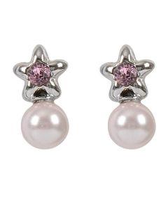 Orecchini a lobo con stella, cristallo Swarovski rosa e perla