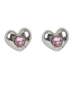Earrings in the lobe with heart and Swarovski Crystal