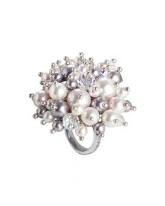 Ring with a bouquet of crystals and Swarovski beads aurorora boreal, white, mauve and Rosaline