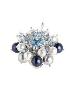 Anello con fiore composto da cristalli acquamarina e perle Swarovski dalle tonalità blu
