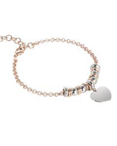 Bracelet bicolor with heart pendant rodiatos