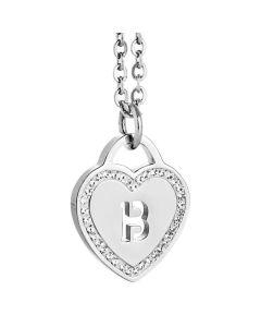 Collana rodiata con cuore e lettera B traforata
