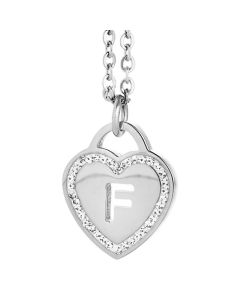 Rhodium plated necklace with heart and letter F perforated