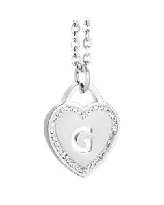 Rhodium plated necklace with heart and letter G perforated