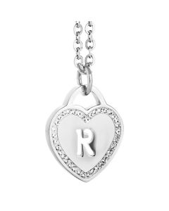 Rhodium plated necklace with heart and letter perforated R