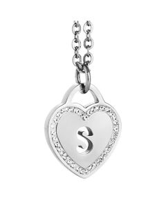 Rhodium plated necklace with heart and letter S perforated