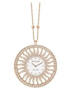 Necklace-clock in bronze plated pink gold with Swarovski