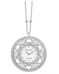 Necklace-clock in bronze rodiatos with hearts in Swarovski