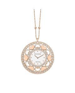 Collana-orologio in bronzo placcato oro rosa con cuori in Swarovski