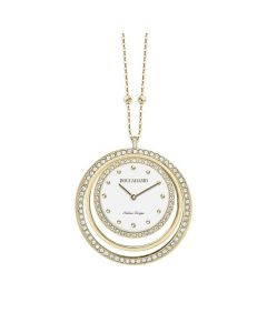 Necklace-clock in bronze plated yellow gold with circles in Swarovski