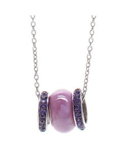 Necklace in steel with passing in ceramic purple and pavè strass