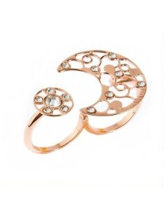 Ring double gold plated pink with dew decoration and crystals crystal
