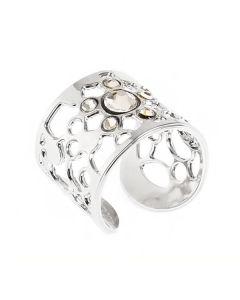 Anello a fascia con decoro rugiada e cristalli crystal
