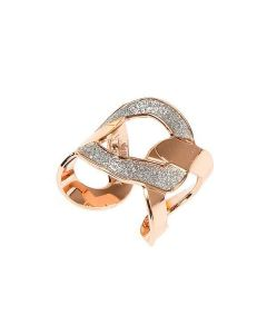 Band Ring Gold plated pink with grumetta decoration