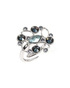 Ring with floral mosaic of Swarovski crystals from blue accents