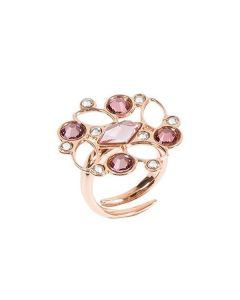 Ring with floral mosaic of Swarovski from pink shades
