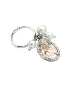 Anello con ciuffetto di perle e cristalli Swarovski  e zirconi