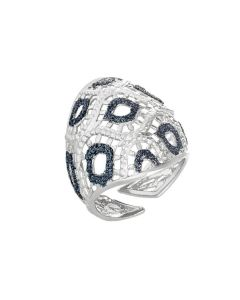 Ring with decoration in glitter alternating bicolor