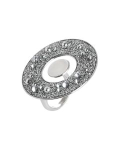 Concentric ring with circular surface in Swarovski galuchat silver