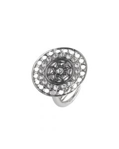 Ring with circular base from Etruscan processing and Swarovski
