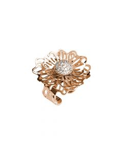 Pink ring with three-dimensional wild rose and zircons