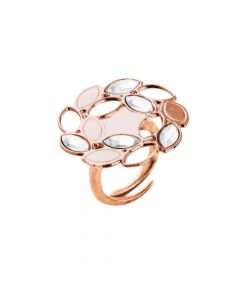 Pink ring with ears of wheat and Swarovski