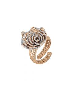 Rose ring with rose in silver glitter
