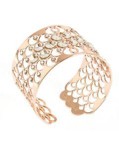 Bracciale rigido placcato oro rosa con decorazione a squame e cristalli