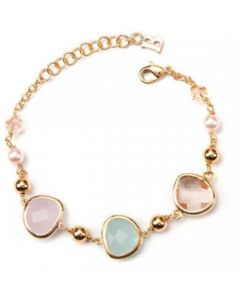 Plated Bracelet yellow gold with briolette crystals