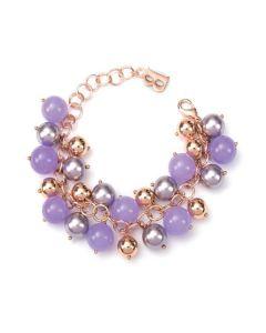 Bracciale con perle Swarovski mauve e pietre di giada viola